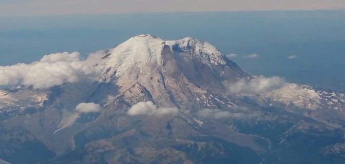 The view of Mt. Rainier from the plane.