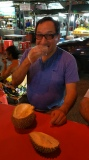 César experiencing the durian!